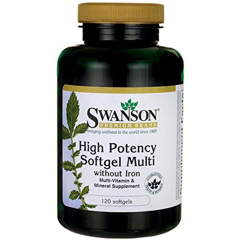 Swanson Multi Without Iron Multivitamin Health Supplement Iron-Free Formula 120 Softgels Sgels