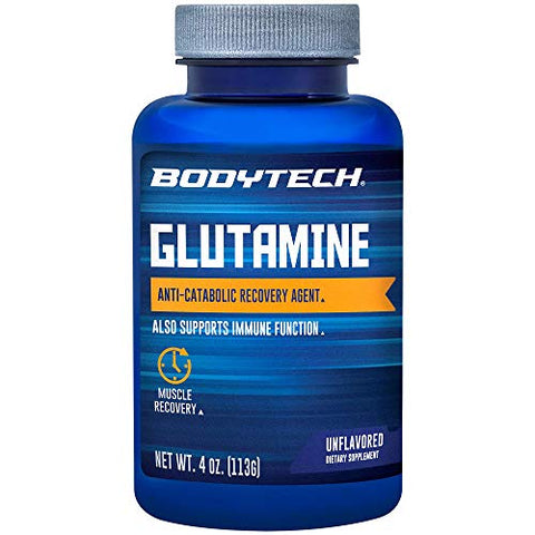 BodyTech Glutamine (Freeform Amino Acid) 4500 MG AntiCatabolic Recovery Agent, Unflavored (4 Ounce Powder)