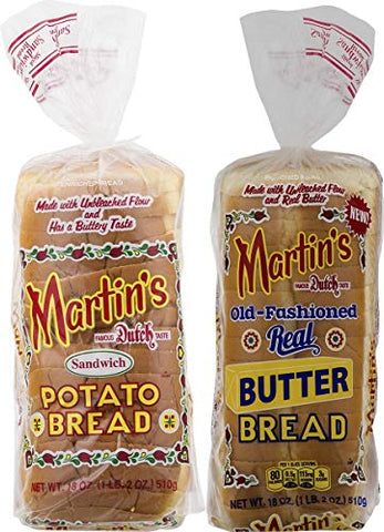 Martin's Famous Pastry Potato Bread Variety Pack- 18 oz. Bags (2 Loaves)