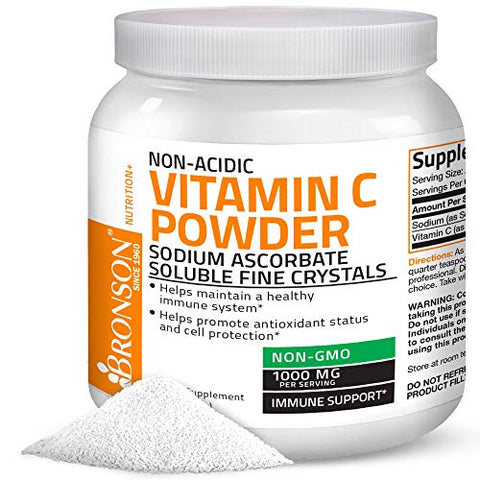 Non Acidic Vitamin C Powder Sodium Ascorbate Non GMO Soluble Fine Crystals - Healthy Immune System, Antioxidant and Cell Protection, 1 Kilogram (2.2 lbs, 35.3 Ounces)