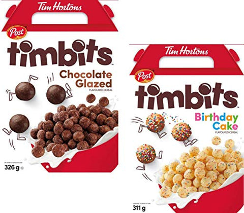 Tim Hortons Timbits Cereal Bundle of Two Flavors - Chocolate and Birthday Cake - Imported from Canada