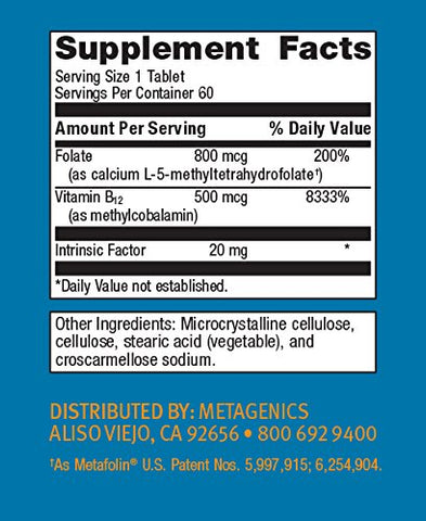 Metagenics - Intrinsi B12-Folate, 60 Count