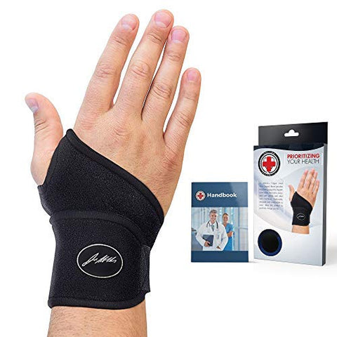 Doctor Developed Premium Copper Lined Wrist Support / Wrist Strap / Wrist Brace / Hand Support [Single] & DOCTOR WRITTEN HANDBOOK SUITABLE FOR BOTH RIGHT AND LEFT HANDS