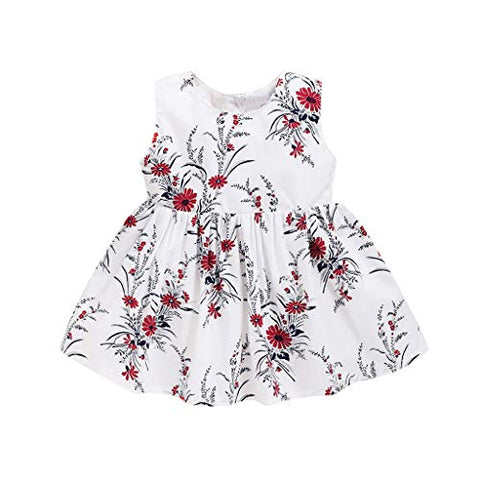 heavKin-Clothes Baby Girls' O-Neck Vest Skirt Summer Sleeveless Flower Print Casual Knee-Length Dress,for 6M-4T Toddler
