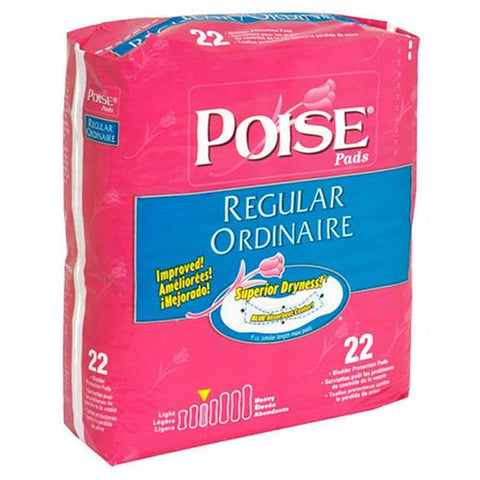 Poise Regular Absorbency Pads - 22 ea