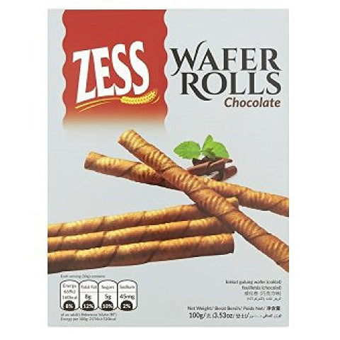 Zess Chocolate Wafer Rolls 100g (628MART) (12 Count)