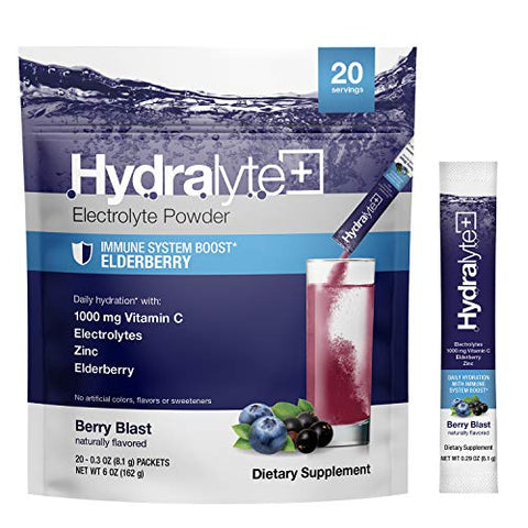 Hydralyte Hydration Plus Immunity Support: 1,000mg Vitamin C, 300mg Elderberry, Zinc Plus 7 Key Electrolytes, Electrolyte Powder Packets with Antioxidant Immunity Support, Berry Blast 20 Count