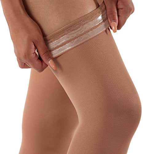 Absolute Support Women's Opaque Stockings with Silicone Grip | Large/Light Beige