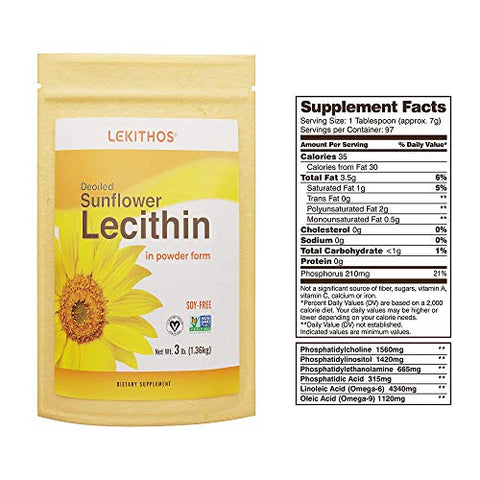 Lekithos De-Oiled Sunflower Lecithin Powder - 3LB - Rich in Phosphatidyl Choline - Non-GMO Project Verified - Soy Free