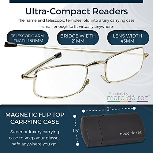 Marc De Rez Mini Foldable Reading Glasses +1.50-2 Pack - Flip Top Cases - Gunmetal Grey Folding Prescription Readers For Men and Women