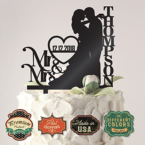 Personalized Wedding Cake Toppers Mr and Mrs Cake Topper | Bride and Groom Cake Toppers Wedding (Mr & Mrs White)