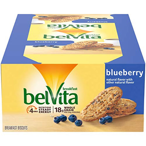 belVita Blueberry Breakfast Biscuits, 8 Packs (4 Biscuits Per Pack)