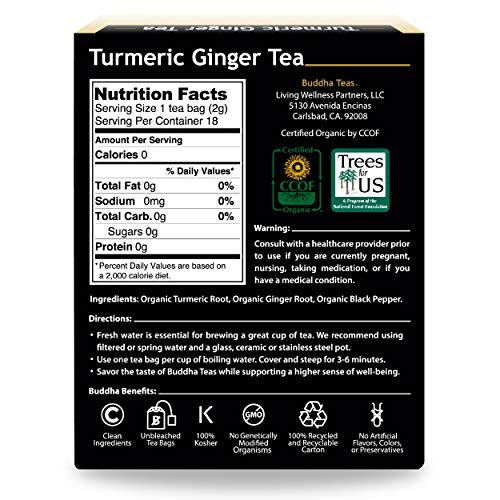 Organic Turmeric Ginger Tea, 18 Bleach Free Tea Bags - Caffeine Free, Antioxidant, Antiviral, and Anti-Inflammatory, Immune Boosting Tea. Supports Digestion, No GMOs