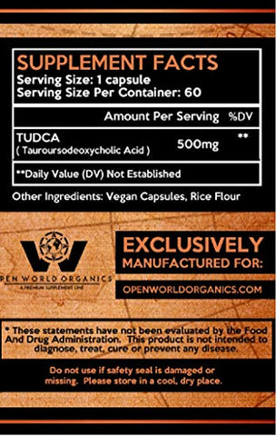 TUDCA - 500 MGS Per Serving - 60 Servings - Tauroursodeoxycholic Acid - Made in cGMP Facility - Quality & Purity - by Open World Organics