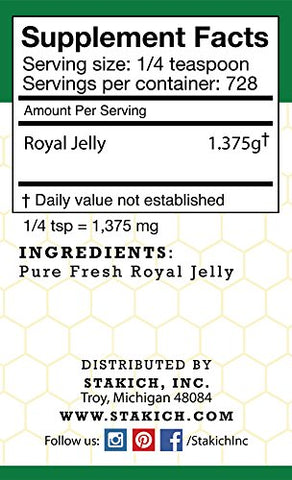 Stakich Fresh Royal Jelly - Pure, All Natural, Highest Quality - No Additives/Flavors/Preservatives Added - 1 KG (2.2 LB)