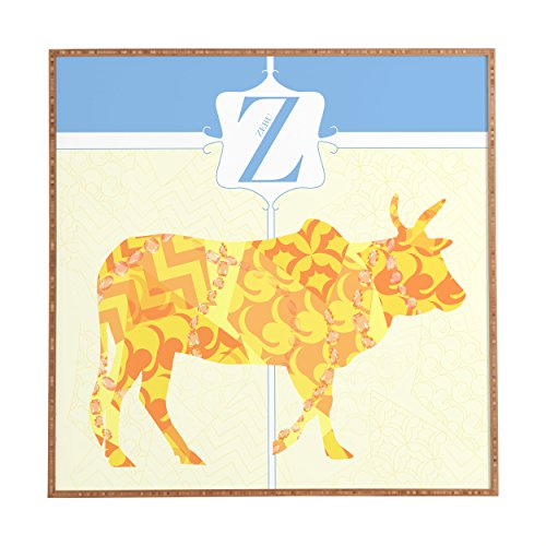 "Deny Designs Jennifer Hill, Mister Zebu, Framed Wall Art, Medium, 20"" x 20"""