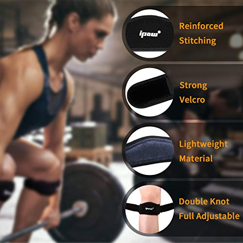 IPOW 2 Pack Thickened Pad&Wide Patella Knee Strap, Pain Relief Patellar Tendon Support, Adjustable Brace Band for Basketball, Running, Jumpers Knee, Volleyball, Tendonitis, Arthritis