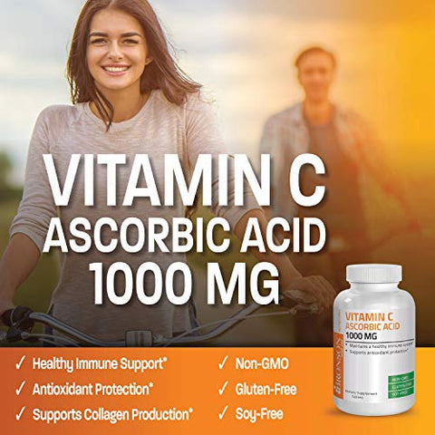 Vitamin C 1000 mg Premium Non-GMO Ascorbic Acid - Maintains Healthy Immune System, Supports Antioxidant Protection - 100 Tablets