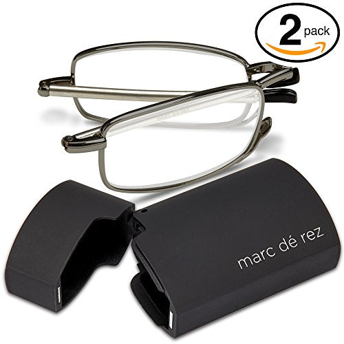 Marc De Rez Foldable Reading Glasses +2.00-2 Pack - Mini Flip Top Cases - Gunmetal Grey Folding Prescription Readers For Men and Women