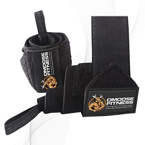 DMoose Fitness Wrist Wraps - Premium Quality, Strong Fastening Straps, Thumb Loops - Maximize Your Weightlifting, Powerlifting, Bodybuilding, Strength Training & Crossfit