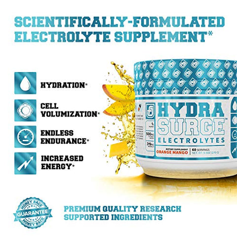 HYDRASURGE Electrolyte Powder - Hydration Supplement with Key Minerals, Himalayan Sea Salt, Coconut Water, & More - Keto Friendly, Sugar Free & Naturally Sweetened - 60 Servings, Orange Mango