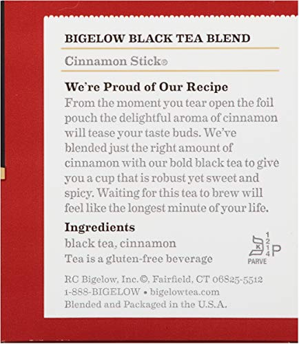 Bigelow Cinnamon Stick Black Tea Bags 20 Count Boxes (Pack Of 6), Caffeinated 120 Tea Bags Total