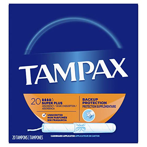 Tampax Cardboard Applicator Tampons, Super Plus Absorbency, 20 Count - Pack of 4 (80 Total Count)