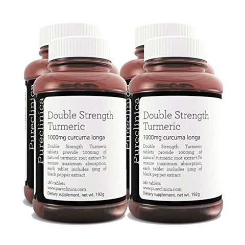 Double Strength Turmeric - Massive 1000mg x 720 tablets - 200% more Turmeric and natural levels of the potent Curcumin per tablet-AND 5mg black pepper extract for 300% increased absorption. SKU:TURMx4