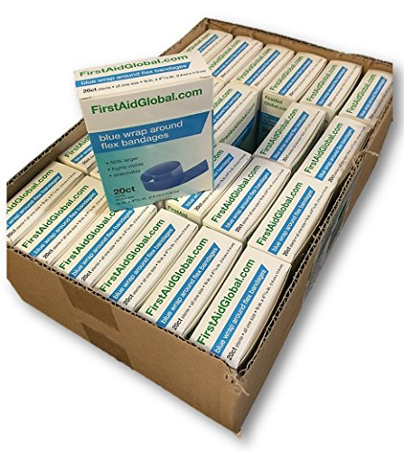 "Flexible Fabric Bandages Bulk 24 Boxes/case (Blue Wrap-Around Flex 3/4x5"")"