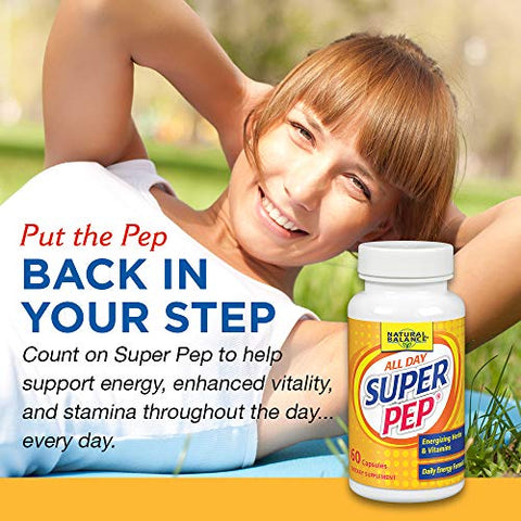 Natural Balance Super Pep | All Day Herbal Energy Support w/ Eleuthero, Kola Nut, B-Vitamins & Chromium | 60ct, 30 Serv.