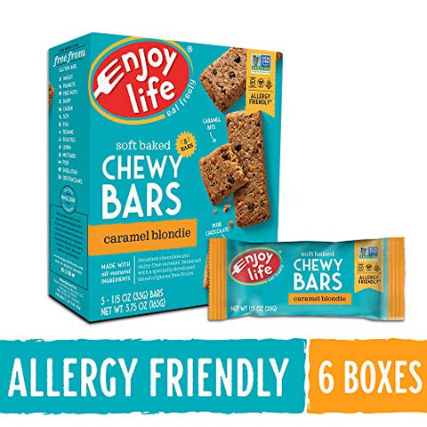 Enjoy Life Foods Chewy Bars, Caramel Blondie Nut Free Bars, Soy Free, Dairy Free, Non GMO, Gluten Free, 6 Boxes (30 Total Bars)