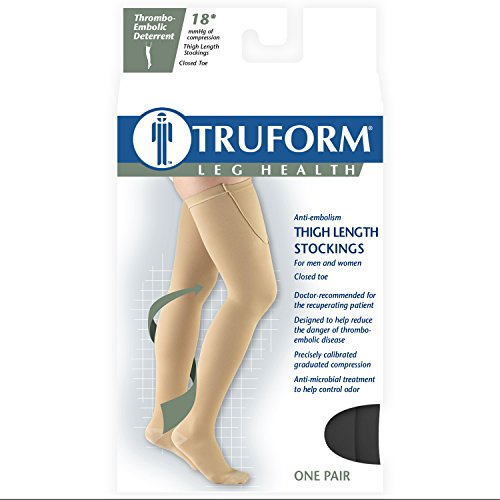 Truform Surgical Stockings, 18 mmHg Compression for Men and Women, Thigh High Length, Closed Toe, Black, X-Large
