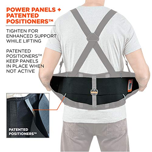 "Ergodyne ProFlex 2000SF Back Support Brace, 8.5"" Spandex, V-Shape Design and Patented Stays for Added Support, Large"