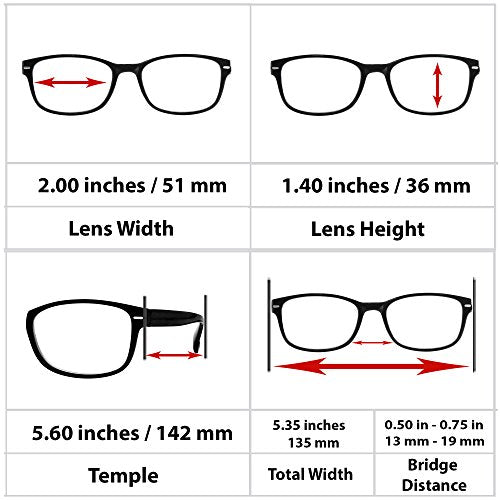 Reading Glasses 5.00 Black (SINGLE) F505 TruVision Readers
