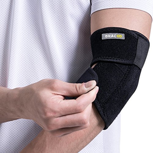 Bracoo Elbow Support, Reversible Adjustable Brace with Dual Stabilizers for Sprain, Joint Pain Relief, Tendonitis, Tennis-Golfer's Elbow Treatment, EP30, 1 Count