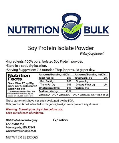 Soy Protein Powder - Nutrition Bulk, Isolate, Unflavored, Vegan, Non GMO (32 oz)