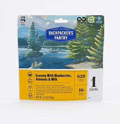 Backpacker's Pantry Granola with Blueberries, Almonds & Milk, 16 Grams of Protein, Vegetarian, 4.7 oz/Pouch, 1 Serving Pouch (101016)