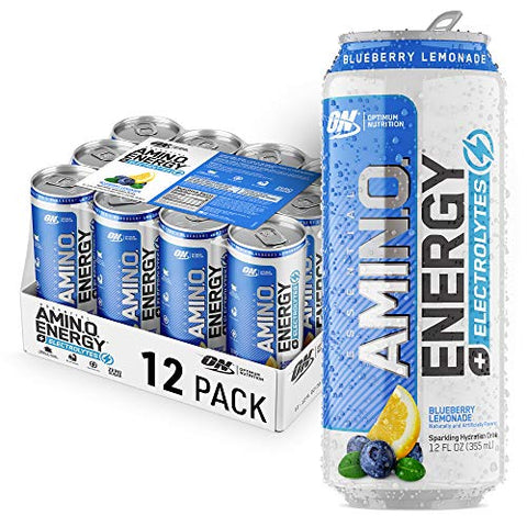 Optimum Nutrition Amino Energy + Electrolytes Sparkling Hydration Drink - Pre Workout, BCAA, Keto Friendly, Energy Powder - Blueberry Lemonade, 12 Count