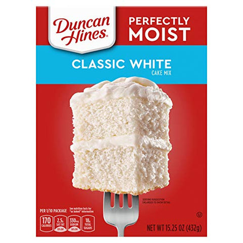 Duncan Hines Perfectly Moist Classic White Cake Mix, 12 - 15.25 OZ Boxes.