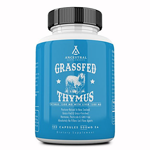 Ancestral Supplements Grass Fed Thymus Extract (Glandular) ?? Supports Immune, Histamine, Allergy Health (180 Capsules)