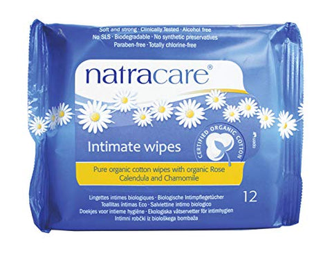 Natracare Organic Cotton Intimate Wipes, 12 Count (Pack of 24)
