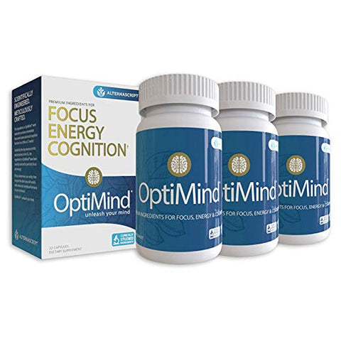 OptiMind Nootropics Brain Booster Supplement, Enhance Focus and Energy, As Seen on Netflix, 3-Pack (32 Ct Each) (3-Pack)