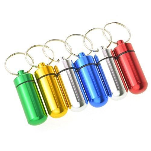 Dxhycc 6pcs Waterproof Aluminum Pill Box Case Bottle Cache Drug Holder Keychain Container Color Random