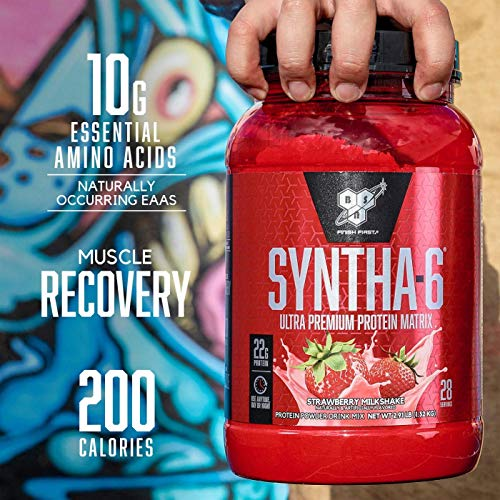 BSN SYNTHA-6 Whey Protein Powder, Micellar Casein, Milk Protein Isolate, Strawberry Milkshake, 28 Servings (Packaging May Vary)