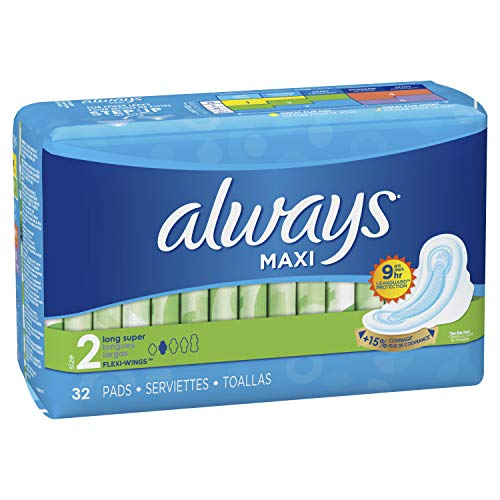 Always Maxi Unscented Pads with Wings, Long/Super 32 Count (Pack of 2)