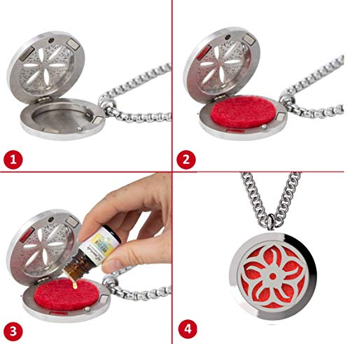 "mEssentials Lotus Essential Oil Diffuser Necklace Stainless Steel Locket Pendant with 24"" Chain, oil, and pads in Gift Box"