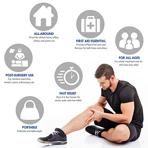 Knee Support Brace Wrap with Ice Gel Pack for Hot and Cold Therapy: for ACL, Meniscus Tear, Golf/Tennis Elbow, Sports, Knee Pain, Tendonitis, Pain Relief, etc. (Flexible, Reusable and Multi-Purpose)