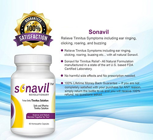 Tinnitus Relief including ringing in ears, clicking, roaring, buzzing with all natural Sonavil. #1 Tinnitus treatment specially formulated to safely and effectively manage Tinnitus related ear issues.