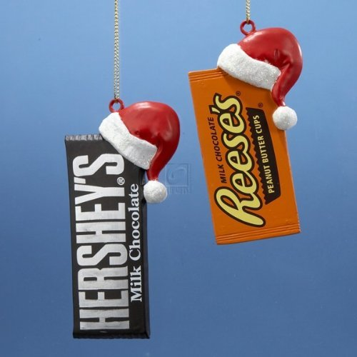 Hershey'sâ?¢ Candy Bar With Santa Hat Ornament   2 Assorted: Hershey'sâ?¢ And Reese's