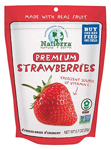 NATIERRA Premium Freeze-Dried Strawberries | Non-GMO & Vegan | 0.7 Ounce (Pack of 4)